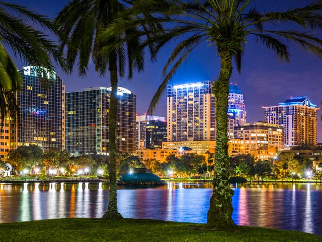 Orlando Florida, lake Eola, skyline, skyscrapers, night