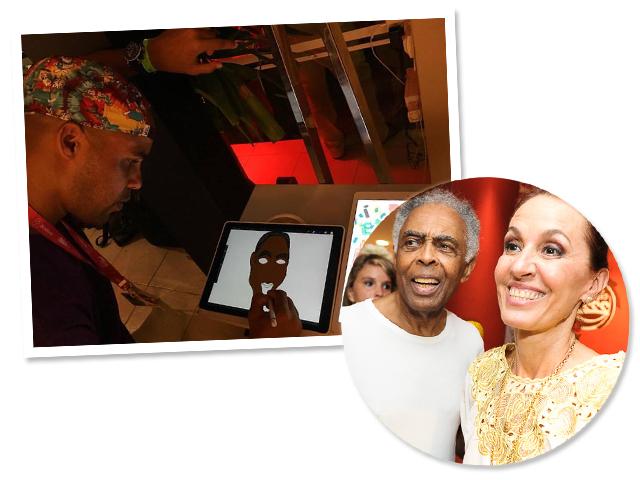 O designer Pandro desenhando nos iPads e Gilberto e Flora Gil