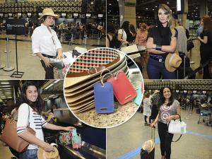 Express: Amaro entrega mimos às glamurettes no aeroporto de SP