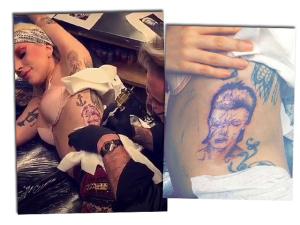 Para sempre: Lady Gaga tatua rosto de David Bowie