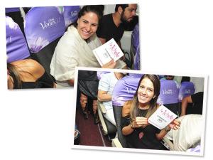 Michelle Lingerie presenteia glamurettes a bordo do Glamurama Jet