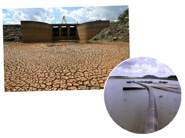 Imagens do Sistema Cantareira em 2014, auge da crise hídrica
