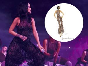 "Rihanna veste Giorgio Armani na ""ANTI Tour"". Ao figurino!"