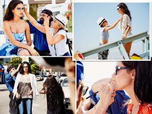 Adriana Lima passeia pelas ruas de LA em campanha da Vogue Eyewear