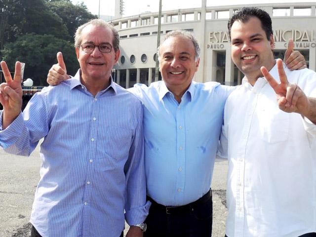 José Aníbal (esq), Tripoli e Bruno Covas: divisão no segundo turno da prévia Reprodução Facebook