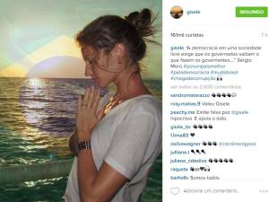 Gisele se manifesta sobre crise política e cita Moro no Instagram