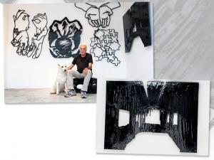Carlos Vergara abre exposição feita com asfalto sobre MDF