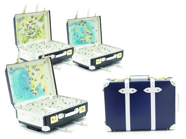Partiu? A série de malas da Globe-Trotter com ilustrações inspiradas em paraísos gregos