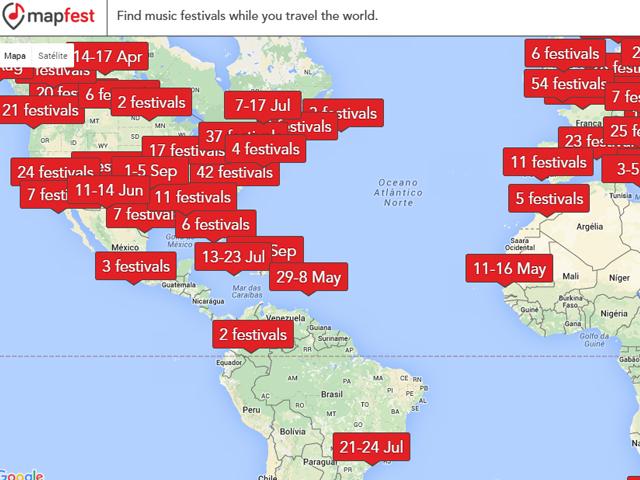 No mapa são mostrados os dias, gênero e um vídeo sobre o festival escolhido