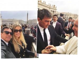 Papa Francisco para tudo para receber Antonio Banderas e namorada
