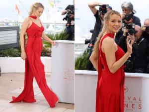 Grávida pela segunda vez, Blake Lively acerta no look em Cannes
