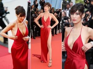 Bella Hadid invade Cannes com seus decotes, brilhos e delineador