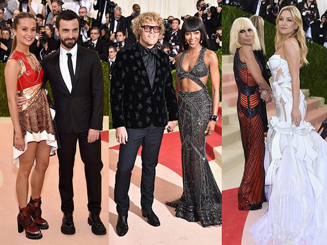 Alicia Vikander e Nicholas Ghesquiere (Louis Vuitton),Naomi Campbell e Peter Dundas (Roberto Cavalli) eKate Hudson e Donatella Versace