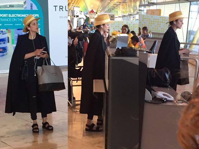 Marion Cotillard em aeroporto de Madri