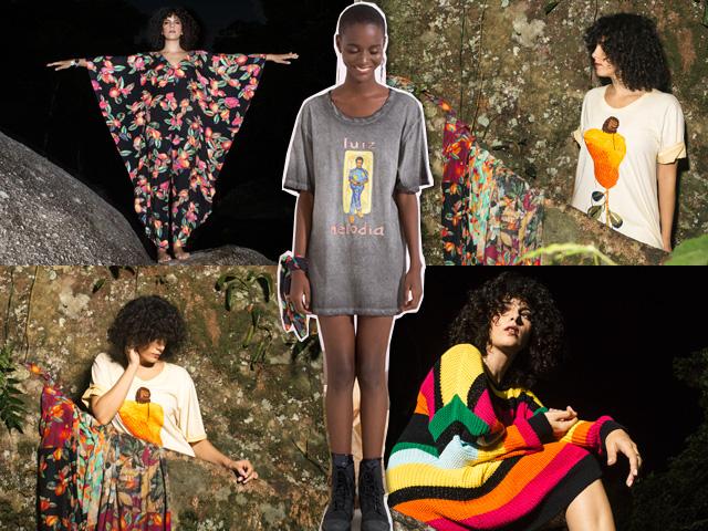 Céu vestindo sua coleção e, no meio, modelo com a camiseta de Luiz Melodia, desenho feito pela cantora