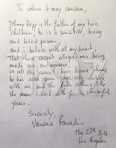 Carta publicada pelo site TMZ, de Vanessa Poradis desmentindo Amber Heard    Créditos: Divulgação