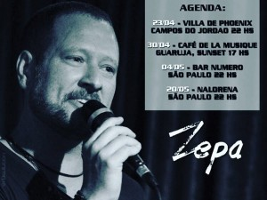 Confira os próximos shows do cantor Zepa. Não perca!