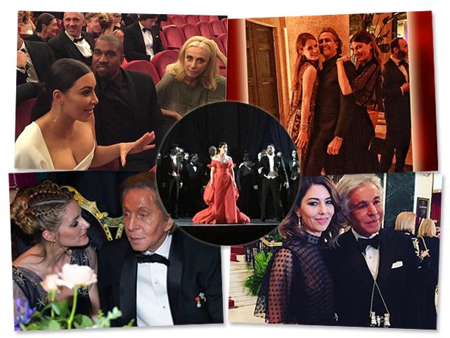 As estrelas da estreia de La Traviata em Roma: Kim Kardashian, Kanye West e Franca Sozzani; Eugenie Niarchos, Cacá de Souza e Bianca Brandolini; Olivia Palermo e Valentino e Sofia Coppola e Giancarlo Giammetti