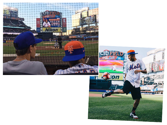 Neymar foi ao  Citi Field Queens, estádio do time de baseball New York Mets e jogou bola      Créditos: Reprodução Instagram