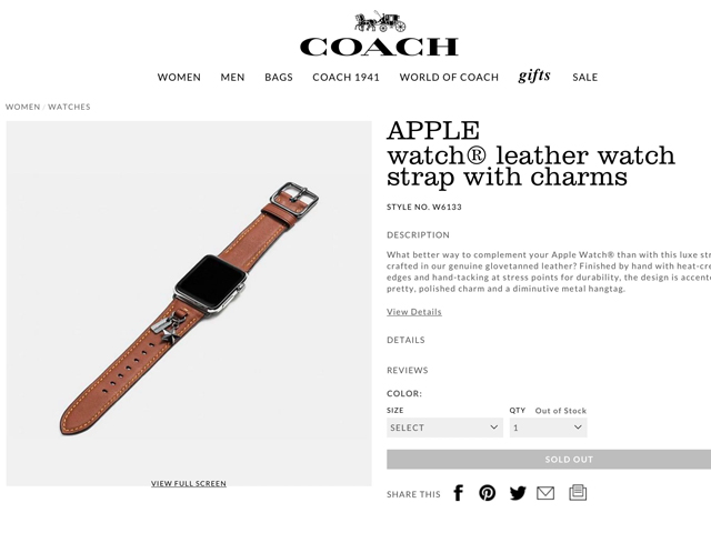 Por um deslize da empresa, imagens da nova pulseira da Coach para o Apple Watch apareceram no site da label || Créditos: Reprodução