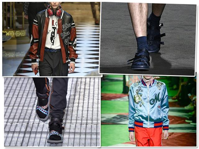 Jaqueta bomber e sandália com meias são apostas unanimes na semana de moda masculina  || Créditos: Getty Images