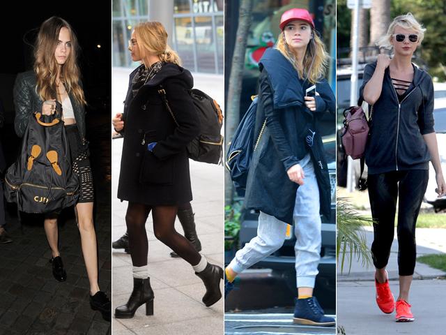 Cara Delevingne,Margot Robbie, uki Waterhouse, e Taylor Swift com suas mochilas Burberry || Créditos: Divulgação