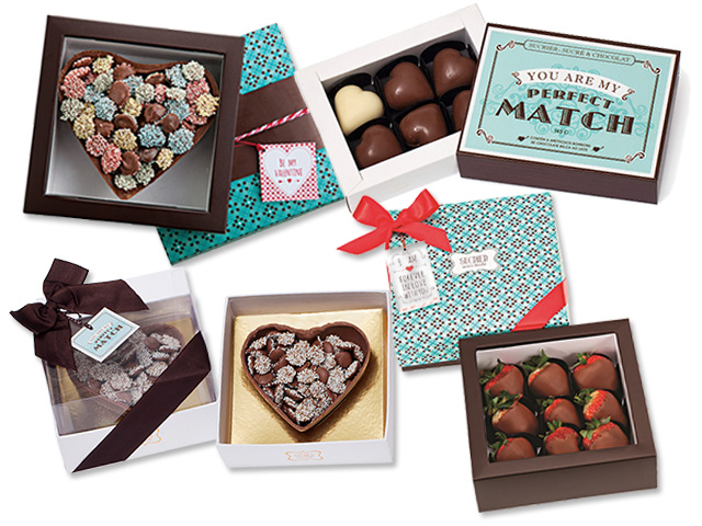 Perfect match - R$ 48, Coração de dragees R$ 79, Morangos com chocolate - R$ 78