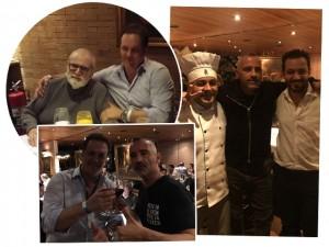 Eros Ramazzotti e Jô Soares em mesas diferentes no mesmo restaurante