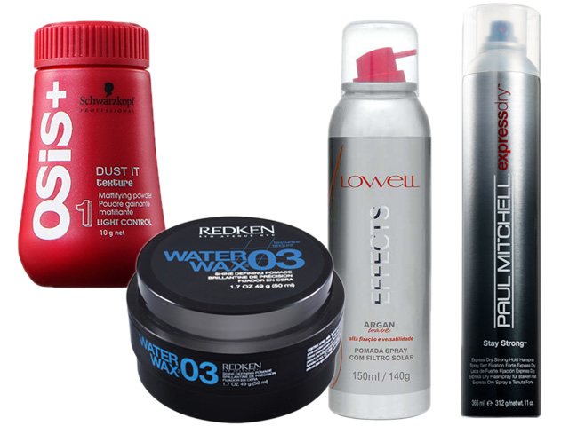 Pó texturizador, pomada modeladora, pomada em spray e spray fixador  || Créditos: Belezanaweb.com.br