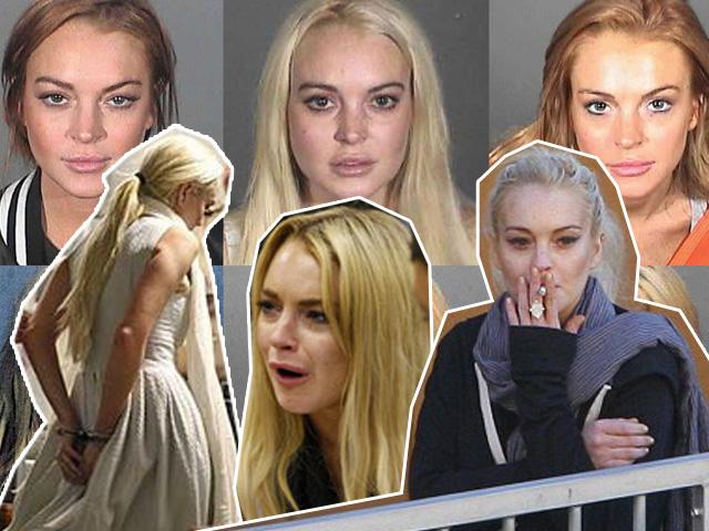 As diversas mugshots de Lindsay Lohan, que jáfoi presa, chorou no tribunal e prestou trabalho voluntário em um necrotério de Los Angeles. Que fase...