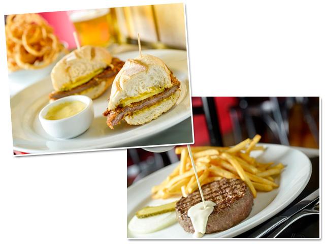 Sanduíche de milanesa e hamburguer com molho gorgonzola e fritas