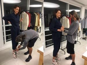 Silvia Pfeifer volta às passarelas e faz prova com o stylist Felipe Veloso