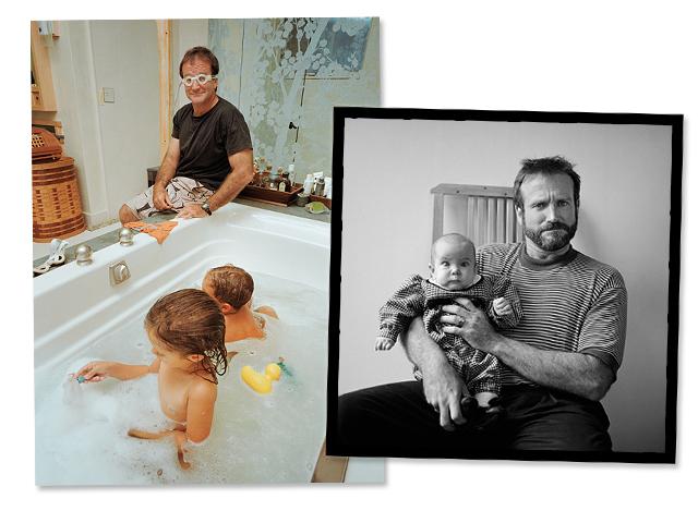 Robin Williams na intimidade, com os filhos Cody, Zelda e Zak