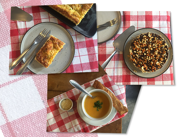 Tortas de linguiça, torta de pé de moleque e uma das novas sopas da Torteria || Créditos: Divulgação