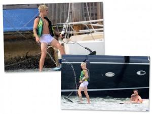 A nova de Justin Bieber? Andar de wakeboard em Miami de cueca branca