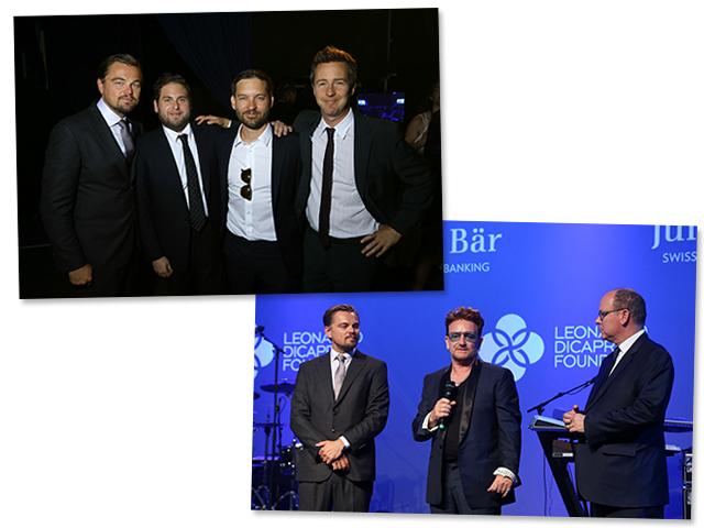 Leonardo DiCaprio, Jonah Hill, Tobey Maguire e Edward Norton acima e abaixo Leonardo DiCaprio no palco com Bono  Créditos: Getty Images