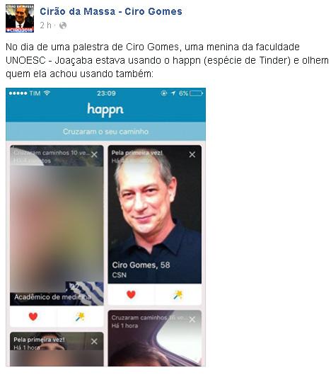 Ciro Gomes no Hppn || Créditos: Reprodução Facebook