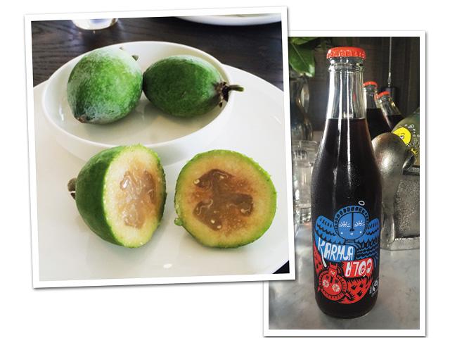 A feijoa, frutinha brasileira adorada pelos neozelandeses, usada em sucos, chutneys e geleias; ao lado, o Karma Cola, refrigerante local||Créditos: Arquivo pessoal