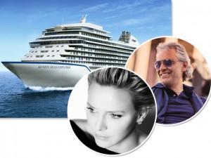 Princesa de Mônaco batiza navio de luxo com show de Andrea Bocelli