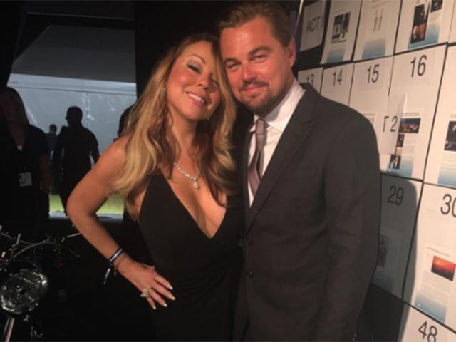 Mariah Carey e Leonardo DiCaprio no jantar de gala da fundação    Créditos: reprodução instagram