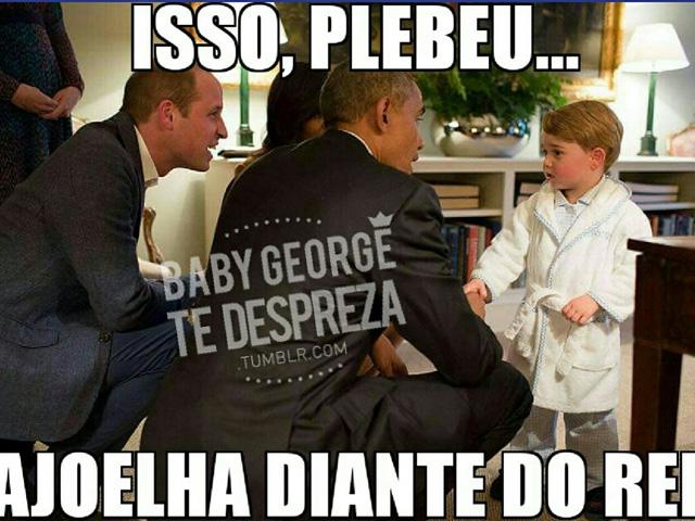 O encontro de Príncipe George com o presidente Obama em abril deste ano não poderia escapar dos olhos afiados da rede social || Créditos: Reprodução Tumblr
