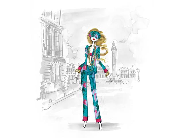 Croqui do pijama F.R.S. criado especialmente para a pop-up da The Webster no Ritz Paris