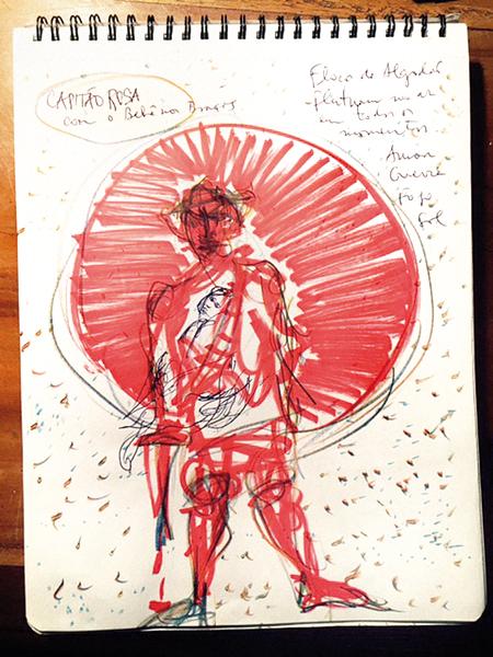 Em um bloco espiral, Carvalho rascunha estudos, desenhos e observações sobre a novela