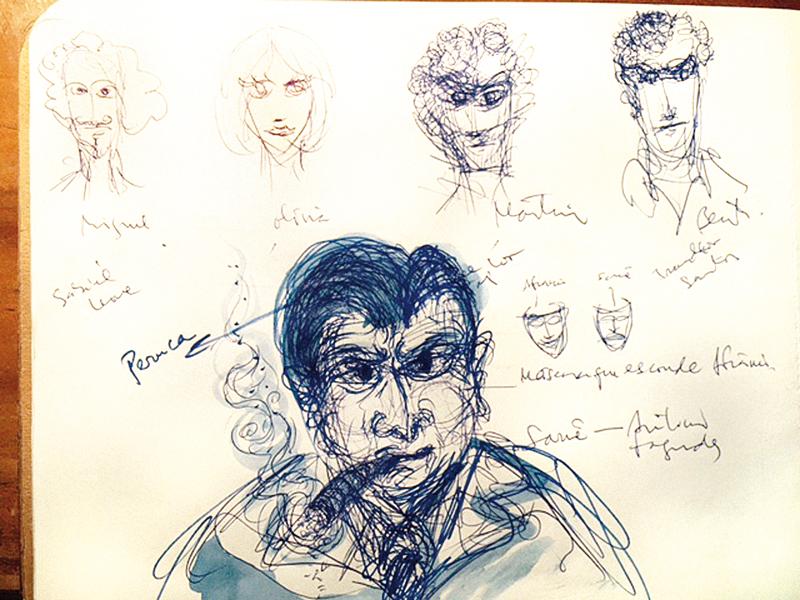 À direita, cinco personagens no traço de LFC (como ele assina): Miguel, Olívia, Martim e Bento; a flecha aponta para a famigerada peruca de Afrânio