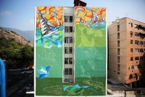 Fachadas de prédios do Rio ganham desenhos que remetem às Olimpíadas