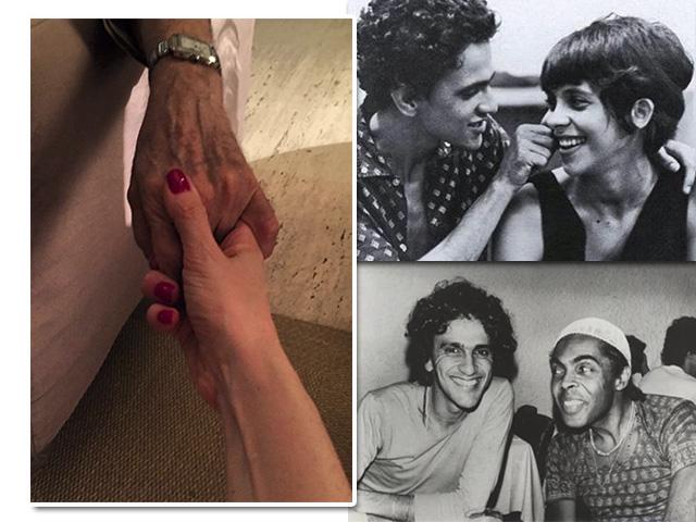 À esquerda, foto publicada por Paula Lavigne em homenagem a Caetano Veloso. À direita, acima, homenagem de Gal Costa ao amigo. À direita, abaixo, homenagem feita por Gil || Créditos: Reprodução Instagram