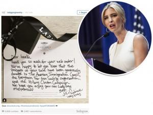 Ivanka Trump compra joias pela internet e recebe bilhete irônico junto
