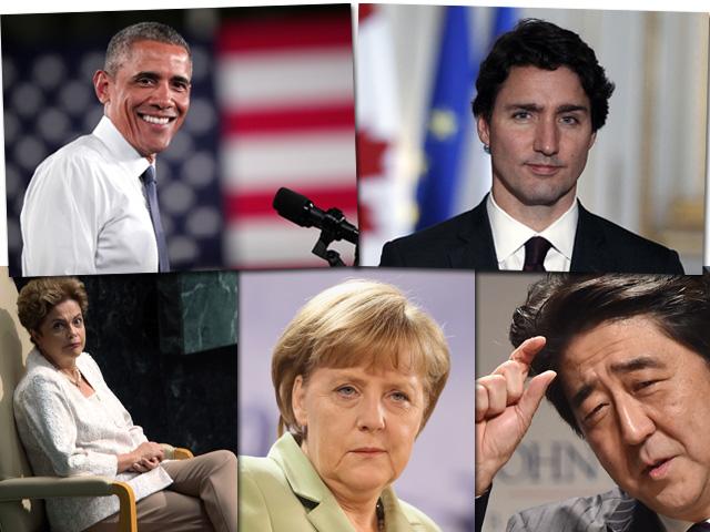 Em cima, Barack Obama e Justin Trodeau. Abaixo, Dilma Roussef, || Créditos: Getty Images