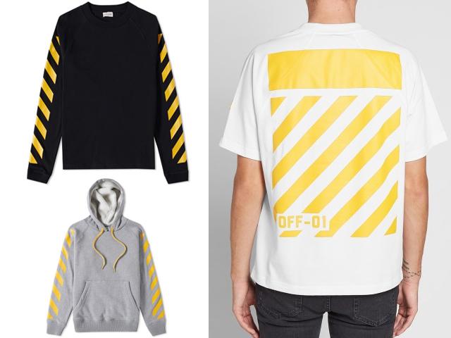 As listras amarelas da Off-White em peças da nova parceria com a Moncler