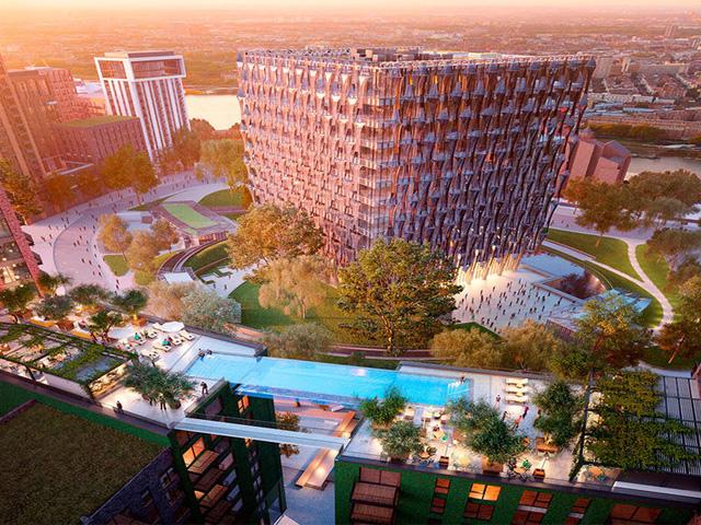 Piscina em alto de prédio permite que os moradores nadem até os vizinhos